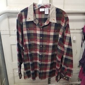 Vintage Bobbie Brooks 26W/28W Plaid Long Sleeves